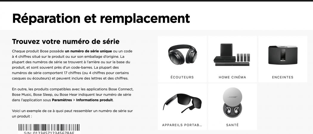 Bose - Réparation en ligne